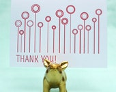 Letterpressed Thank You Cards - Circle Flowers 5 pack