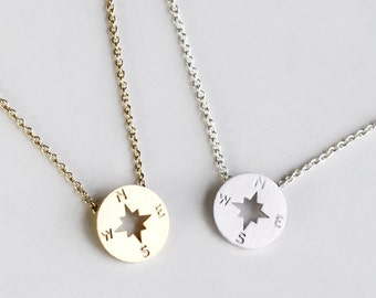 Compass Necklace, christmas gift, Graduation Friendship Necklace, Best Friends, BFF Gift, sister, tiny Compass Journey Necklace