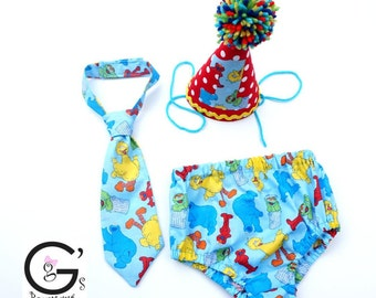 Sesame Street Elmo Big Bird Cookie Monster Cake Smash Birthday Outfit baby boys Toddler Photo Prop Bow Tie