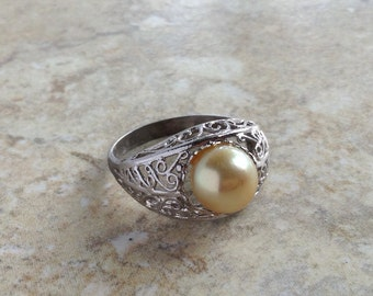Vintage Large Cultured Pearl Silver Art Nouveau Ring Size 6.5 Jewelry