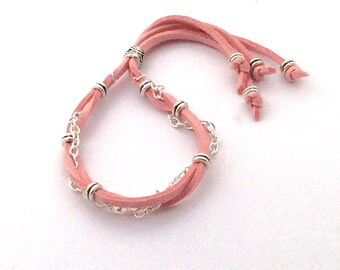 Popular girls bead bracelet-Trending friendship chain bracelet-wedding bridesmaid gift-Faux leather cord bracelets-women's boho bracelet