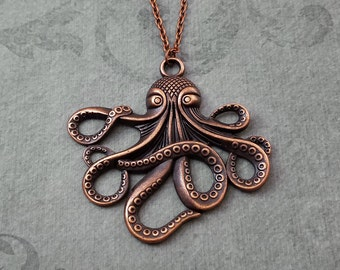Octopus Necklace VERY LARGE Octopus Jewelry Octopus Pendant Necklace Kraken Necklace Octopus Gift Bronze Octopus Charm Sea Monster Jewelry