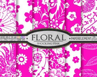 Shocking Pink Floral Digital Paper Pack - Paper Flower Backdrops - Instant Download