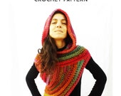 "Pattern Hooded Huntress Vest ""Girl on Fire"" Cowl Poncho Scarf Super Chunky Yarn / Crochet Step by Step Tutorial Pattern"
