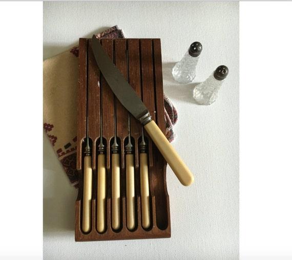 6 Vintage Steak Knives England Sheffield Stainless Steel