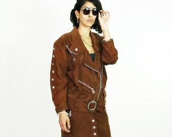 FAUX SUEDE JACKET, biker jacket, 80s brown jacket, oversized boyfriend jacket, buttons zipper jacket, vintage boho retro grunge rock, size s