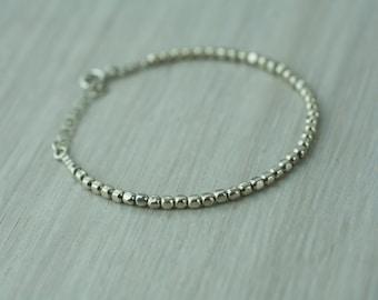 Silver square beads bracelet, geometric silver bracelet, silver beaded bracelet, sterling silver bracelet, beaded silver stacking bracelet