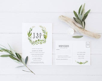 Wedding Invitation & RSVP Postcard - Minimal Vine Design