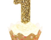 """3"""" or 5"""" Glitter Number 1 Birthday Candle, Giant First Birthday Candle, Large 1 Birthday Gold or Pink Candle, One Birthday Glitter Candle,"""
