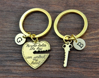 Personalized Key Chains, Key Rings, He who holds the key can unlock my heart - custom his and hers 2 Keychain set, Heart and Key Keychains