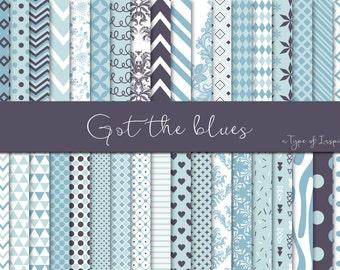 Blue hues digital paper pack, Blue digital paper, Scrapbook paper, Printable paper, Instant download, Printable pattern, Scrapbooking
