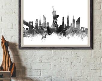 New York City Skyline Black and White Print, New York Watercolor Print Home Decor, New York Poster New York Cityscape, NYC Print (A0459)