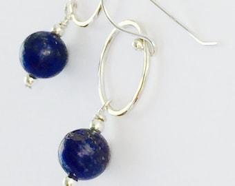 LAPIS LAZULI Earrings,Hammered Sterling Silver Drop Earrings,Deep Blue Lapis Earrings