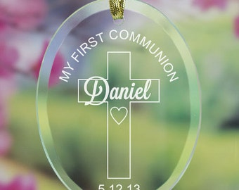 First Communion Glass Ornament, First Communion Gift, Engraved Communion Ornament
