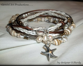 Starfish wrap bracelet .925 sterling silver, seashells, freshwater pearls and genuine leather