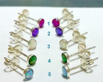 Opal Earrings, 925 Sterling Silver Opal Earrings, Studs, Post Earrings, Opal Jewelry, 18-22 Gauge