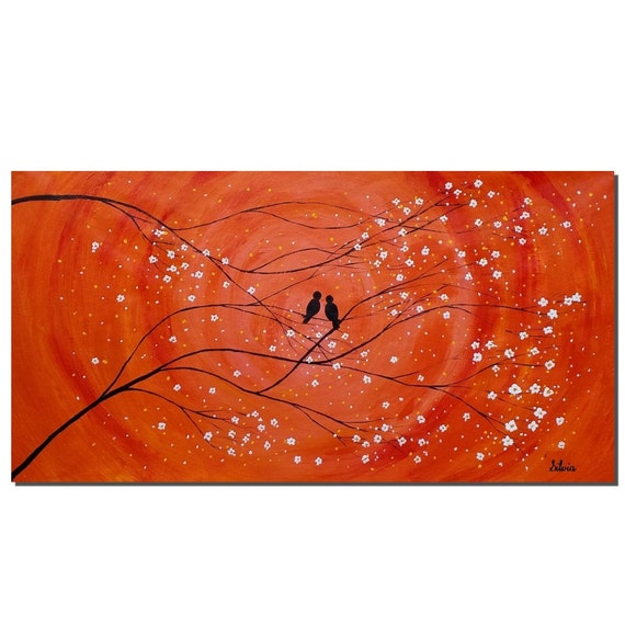 Wedding Gift Canvas Painting : Wedding Gift Original Painting Love Birds Painting Abstract Art Oil ...