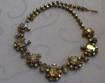 Vintage Gold Juliana D&E? Aurora Borealis Collar Estate Fancy Cocktail Necklace