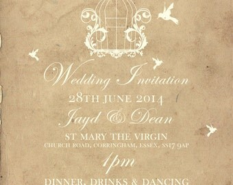SAMPLE Old Vintage Country Shabby Chic Birdcage Wedding Invitations