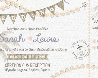 SAMPLE Shabby Chic Pastel Pearl Beach Destination Boarding Pass Wedding Invitations Tickets!