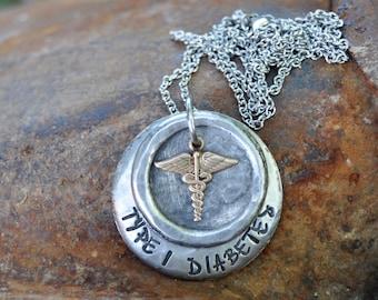 Medical Alert Necklace. Medical Alert Wax Seal Necklace. Medical ID Jewelry. Custom Medical Alert Jewelry.