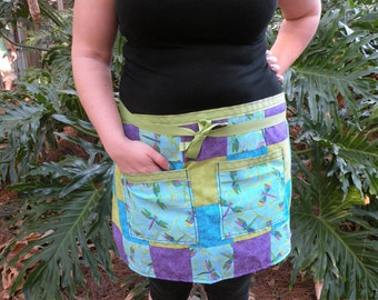 Dragonfly - Handmade - Patchwork - Half Apron (Purple, Blue, Green)