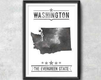 Washington State Typography Print, Typography Poster, Washington Poster, Washington Art, Washington Gift, Washington Decor, Washington State