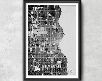 Milwaukee Wisconsin Map with Coordinates, Milwaukee Map, Map Art, Map Print, Milwaukee Print, Milwaukee Art, Milwaukee Wall Art, Map, Poster