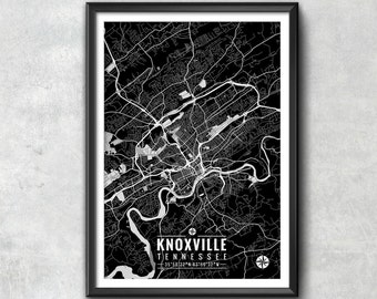 KNOXVILLE Tennessee Map with Coordinates, Knoxville Map, Map Art, Map Print, Knoxville Print, Knoxville Art, Knoxville Gift, Map, Knoxville