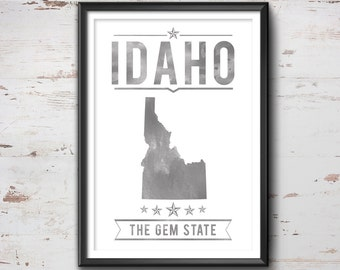 IDAHO State Typography Print, Typography Poster, Idaho Poster, Idaho Art, Idaho Gift, Idaho Decor, Idaho Print, Idaho  Love, Idaho Map, Love
