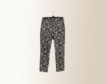 Vintage 90s Floral Print Colorful Tropical Pants Slacks Trousers Size 6 Brand New Never Worn