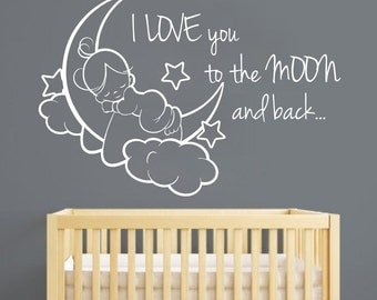 I love you to the moon and back nursery decal