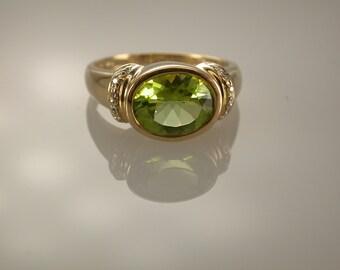 14K Yellow Gold Peridot and Diamond Ring, August Birthstone
