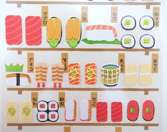 Sushi stickers - Japanese stickers - kawaii stickers - matcha green tea - bento box - sushi bar restaurant - sashimi & nigiri, inarizushi