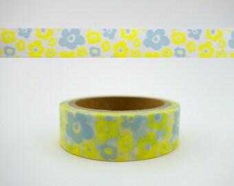 Japanese yellow flower 5m washi tape - Japan yellow floral bloom - cute nature botanical - abstract - kawaii Asian paper masking tape