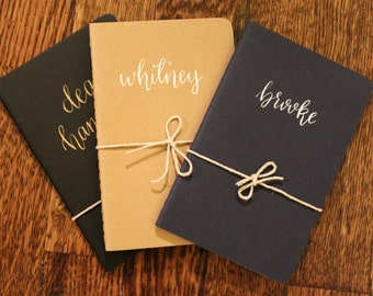Personalized Custom Hand Lettered Calligraphy Notebook Journal