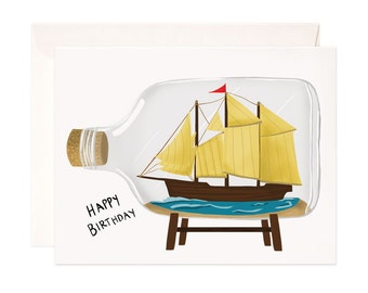 Happy Birthday Card: Handmade Ship in a Bottle Blank Greeting Card for Him