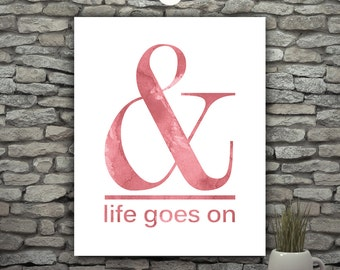 Minimal Poster Quote Prints, Watercolor Quote Artwork Prints, Red Wall Decor Letters For Wall, Life Quotes, Minimal Print, Ampersand Print