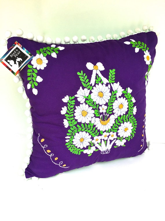 Embroidered Mexican Dress Pillow 18 Square by TheBirdandPear