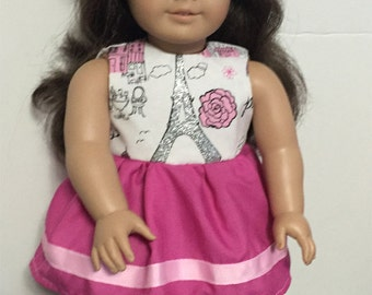 Doll Clothes Paris dress French baret 18 inch Paris dress
