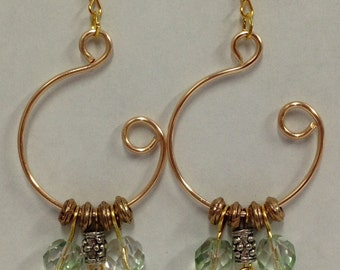 Pale Green and Gold Open Hoop Earrings