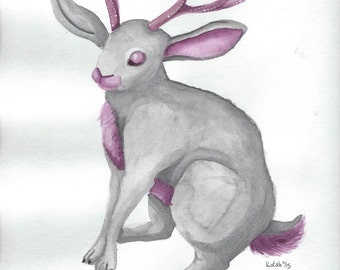 Watercolor Jackalope
