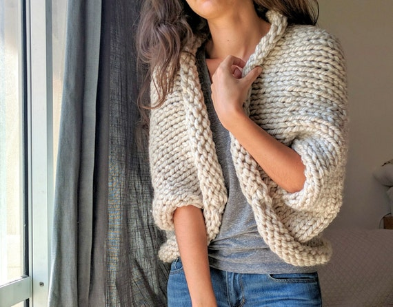 Chunky Knit Cardigan Knitted Oversized Sweater Beige Knit