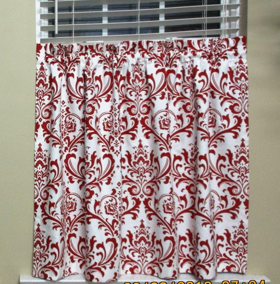 Items Similar To Kitchen Cafe Curtains Lipstick Red Demask 2 Panel Tiers Valance Sold
