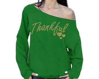 Thankful Thanksgiving Sweater Thanksgiving Outfit GREEN Sweatshirt Slouchy Oversized Off The Shoulder Sweater
