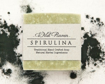 Spirulina Soap // Handmade with All Natural Herbal Ingredients // Traditional Cold Process // Unscented Vegan Soap