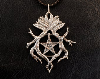 Mystic Mandrake pendant, 925 sterling silver jewelry, witchcraft, witch, pentacle, pentagram, Hekate, Nightshade, poison, Hecate, magic