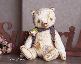 Made to order - Leonardo the Bear - 9 inches Vintage Retro style artist ooak Teddy Bear from vintage plush