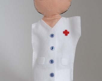 Doctor puppet - gift for doctor, doctor gift, doctor office decor, hand puppet, doctor retirement, doctor figurines, doctor appreciacion -