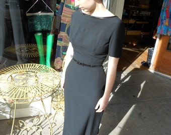 1950's Classic Audrey Hepburn Wool Little Black Dress Fitted ~XSM